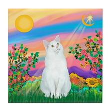 Day Star / (White) Cat Tile Coaster
