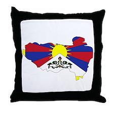 tibet Flag Map Throw Pillow
