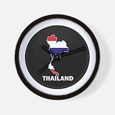 Flag Map of Thailand Wall Clock