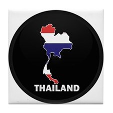 Flag Map of Thailand Tile Coaster