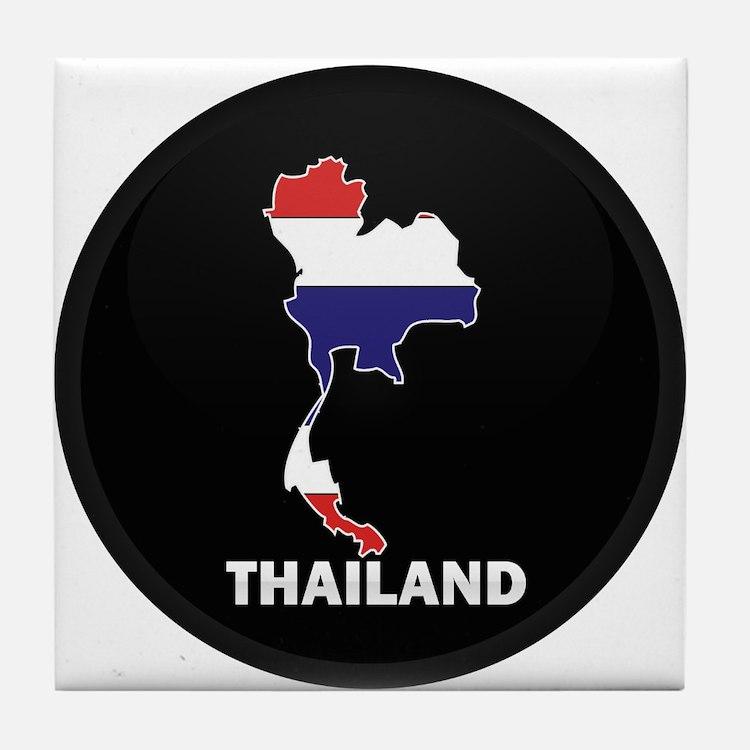 Flag Map of Thailand Tile Coaster