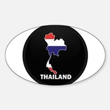 Flag Map of Thailand Oval Decal