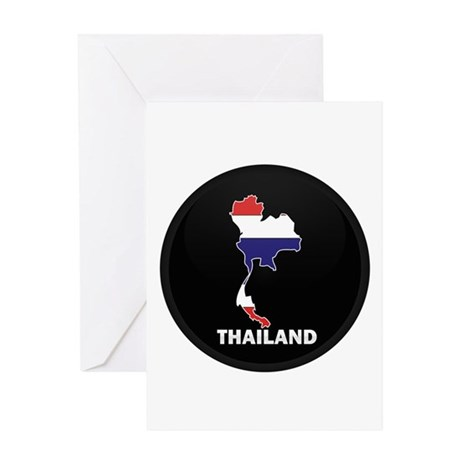 Flag Map of Thailand Greeting Card