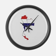 Thailand Flag Map Large Wall Clock