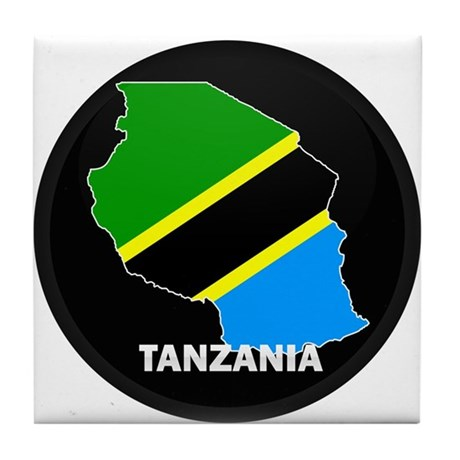 Flag Map of Tanzania Tile Coaster