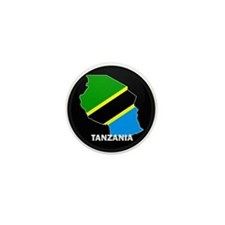 Flag Map of Tanzania Mini Button
