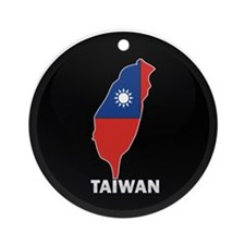 Flag Map of taiwan Ornament (Round)