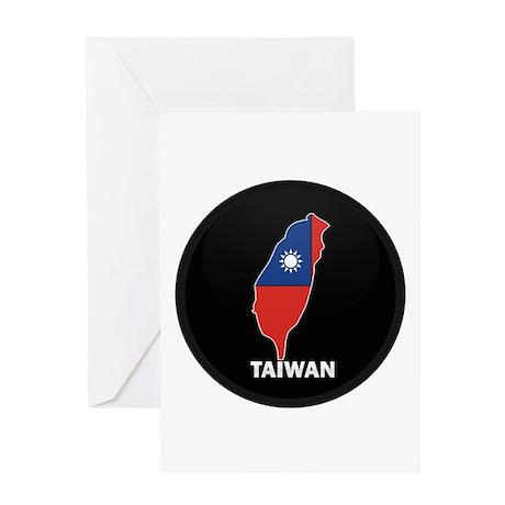Flag Map of taiwan Greeting Card