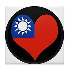 I love taiwan Flag Tile Coaster