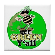 Bee Green y'all Tile Coaster