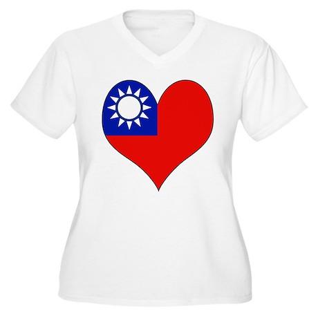 I Love taiwan Women's Plus Size V-Neck T-Shirt