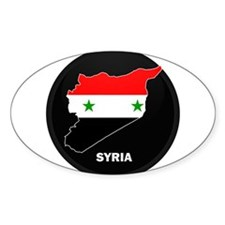 Flag Map of Syria Oval Decal