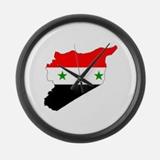 Syria Flag Map Large Wall Clock