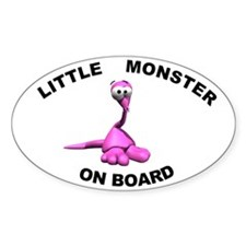 Little Monster on Board Oval Bumper Stickers