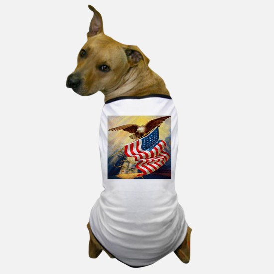 """Eagle with Flag"" Dog T-Shirt"