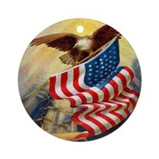 """Eagle with Flag"" Ornament (Round)"