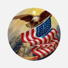 """""""Eagle with Flag"""" Ornament (Round)"""