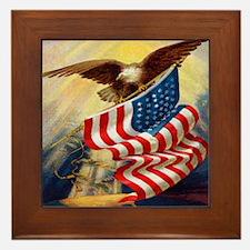 """""""Eagle with Flag"""" Framed Tile"""