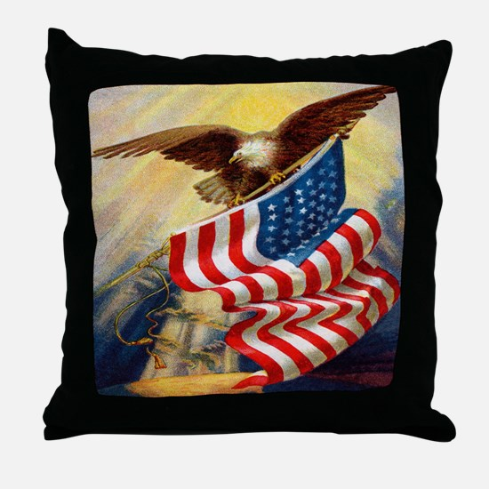 """Eagle with Flag"" Throw Pillow"