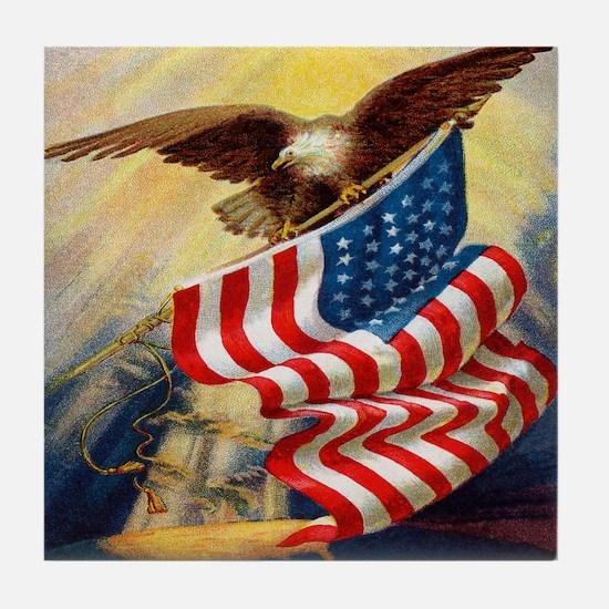 """""""Eagle with Flag"""" Tile Coaster"""