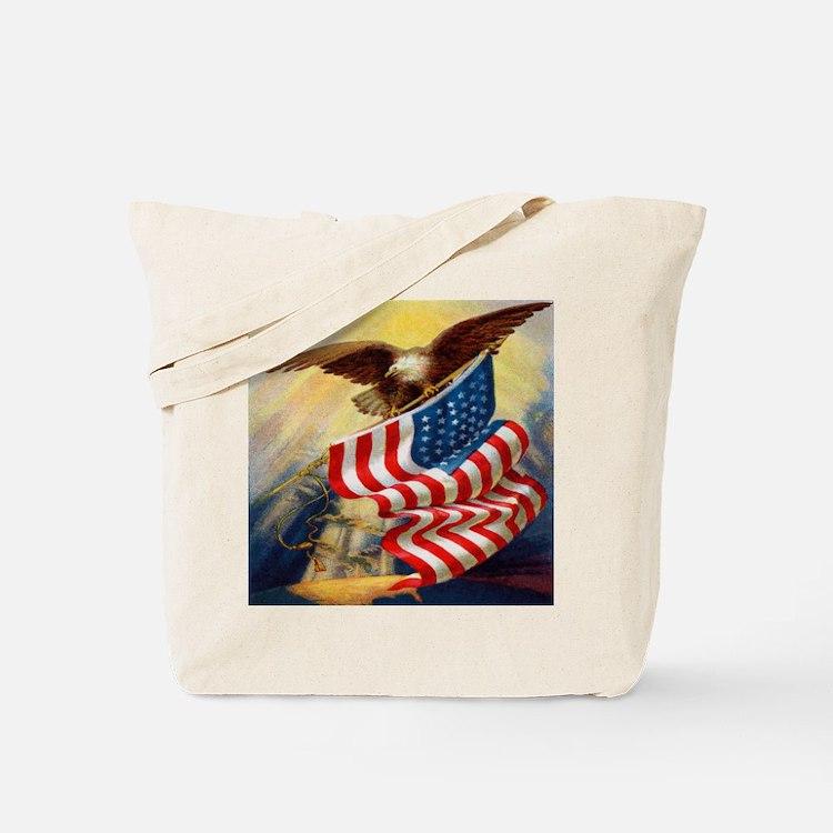 """Eagle with Flag"" Tote Bag"