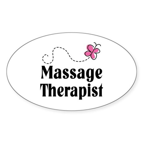 Pretty Massage Therapist Oval Sticker