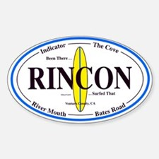 Rincon Surf Spots Oval Decal