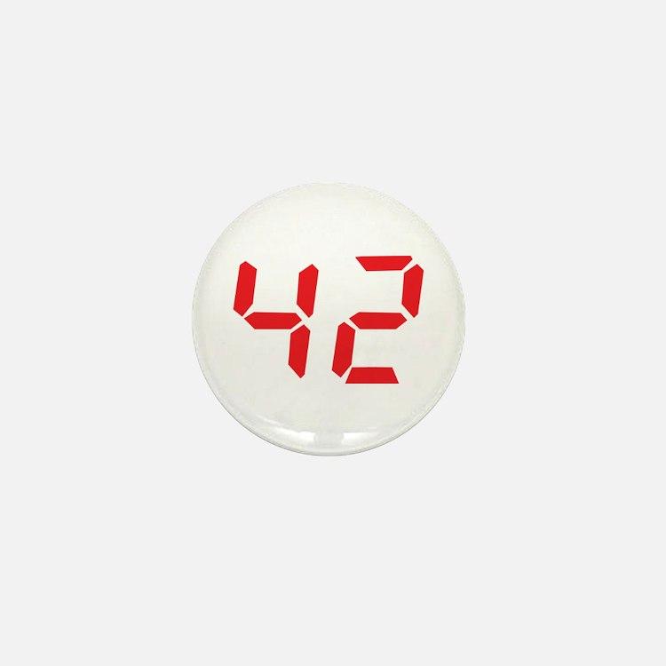 42 fourty-two red alarm clock Mini Button