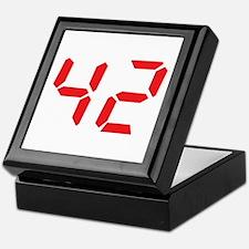42 fourty-two red alarm clock Keepsake Box