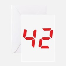 42 fourty-two red alarm clock Greeting Card