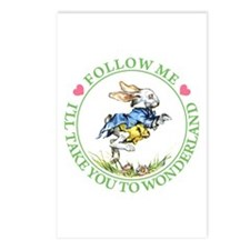 WHITE RABBIT - FOLLOW ME Postcards (Package of 8)