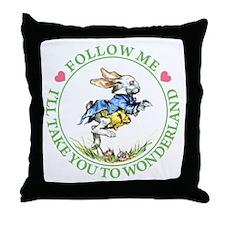 WHITE RABBIT - FOLLOW ME Throw Pillow