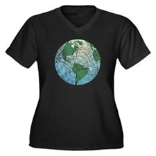 Woodgrain Earth Women's Plus Size V-Neck Dark T-Sh