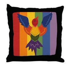 Bird in Flight Rainbow Throw Pillows