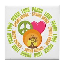 Peace Love Spring Break Tile Coaster