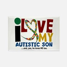 I Love My Autistic Son 2 Rectangle Magnet