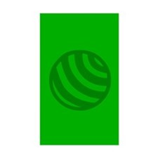 Green Striped Ball Rectangle Decal