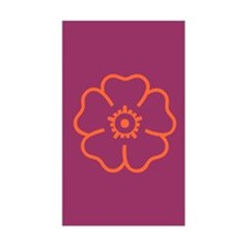 Orange Flower On Purple Rectangle Decal