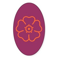 Orange Flower On Purple Oval Decal
