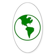 Green World On White Oval Decal