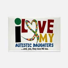 I Love My Autistic Daughters 2 Rectangle Magnet (1