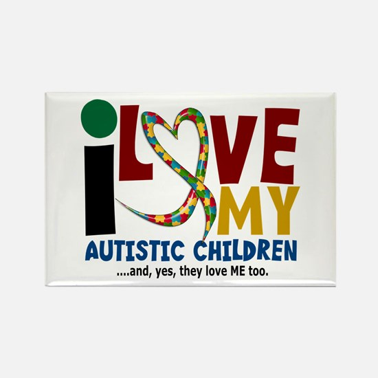 I Love My Autistic Children 2 Rectangle Magnet
