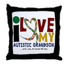 I Love My Autistic Grandson 2 Throw Pillow