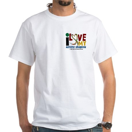 I Love My Autistic Grandson 2 White T-Shirt