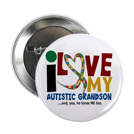 "I Love My Autistic Grandson 2 2.25"" Button (10 pac"