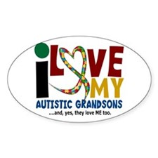 I Love My Autistic Grandsons 2 Oval Decal