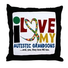 I Love My Autistic Grandsons 2 Throw Pillow