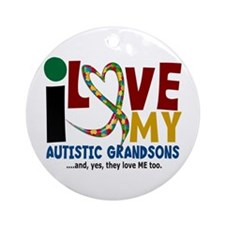 I Love My Autistic Grandsons 2 Ornament (Round)