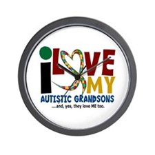 I Love My Autistic Grandsons 2 Wall Clock