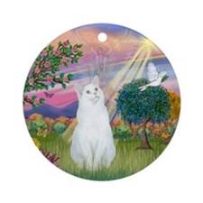 Cloud Angel / (White) Cat Ornament (Round)